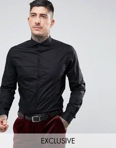 Строгая рубашка скинни с закругленным воротником Noose & Monkey - Черный