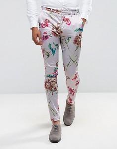 Супероблегающие брюки с розовым цветочным принтом ASOS - Розовый