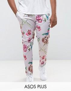 Розовые строгие облегающие брюки с цветочным принтом ASOS PLUS - Розовый