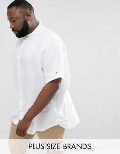 Белая узкая льняная рубашка с короткими рукавами Tommy Hilfiger PLUS - Белый