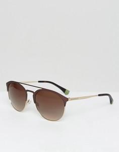 Круглые солнцезащитные очки Emporio Armani - Коричневый