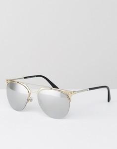 Круглые солнцезащитные очки с зеркальными линзами Versace - Золотой
