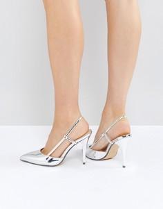 Серебристые туфли металлик на каблуке с острым носком True Decadence - Серебряный