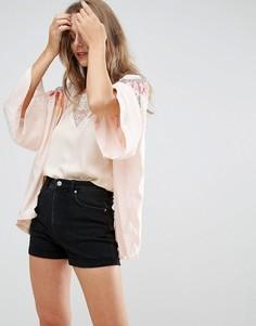 Кимоно с птицами на плечах Liquorish - Розовый