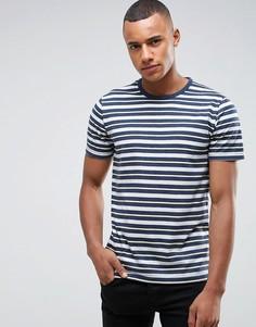 Серо-синяя обтягивающая узкая футболка с полосками Abercrombie & Fitch - Красный