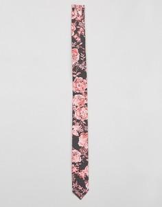 Серый галстук с цветочным принтом ASOS - Серый