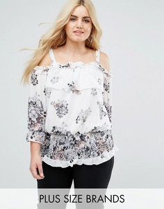 Блузка с открытыми плечами, цветочным принтом и оборками Lovedrobe - Мульти