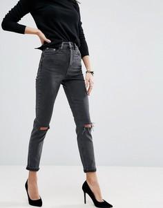 Выбеленные черные узкие джинсы в винтажном стиле с завышенной талией ASOS FARLEIGH - Черный