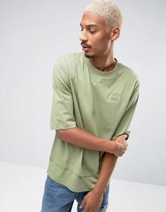 Зеленая oversize-футболка с двухслойной кромкой Puma эксклюзивно для ASOS - Зеленый