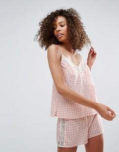 Пижамный комплект в клеточку Monki - Розовый