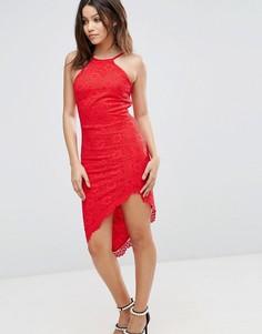 Платье с американской проймой и асимметричным подолом City Goddess - Красный