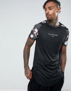 Черная футболка с цветочной отделкой на рукавах Illusive London - Черный