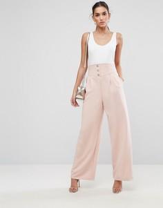 Широкие брюки с завышенной талией ASOS Tailored - Розовый