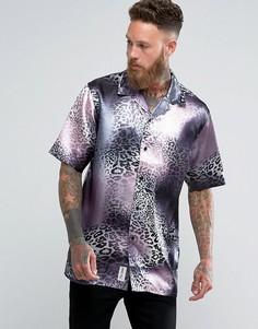 Атласная рубашка с отложным воротником и леопардовым принтом Roadies of 66 - Розовый