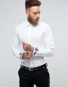 Эластичная приталенная рубашка с вышивкой на манжетах ASOS - Белый