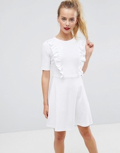 Свободное хлопковое платье с оборками ASOS - Белый