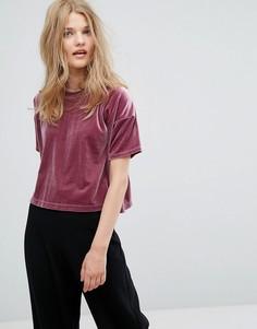 Бархатная футболка Weekday - Фиолетовый