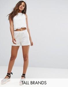 Кружевные шорты Vero Moda Tall - Белый