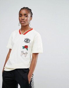Свободная футболка с нашивками adidas Originals - Черный