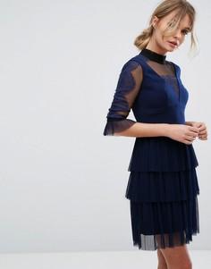 Платье мини с плиссированным верхним слоем юбки Three Floor - Темно-синий