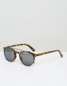 Солнцезащитные очки с черепаховой оправой в стиле ретро Selected Homme - Черный