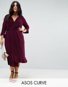 Платье миди с запахом и оборками ASOS CURVE - Фиолетовый
