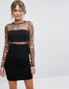 Платье с вышивкой на сетчатых вставках New Look - Черный