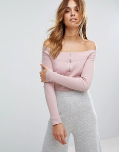 Топ в рубчик с открытыми плечами Micha Lounge - Розовый