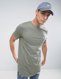 Длинная меланжевая футболка Le Breve - Зеленый