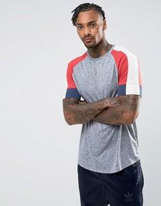 Серая длинная футболка из смешанного льна с закругленным краем ASOS - Серый