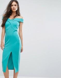 Платье-футляр с открытыми плечами и разрезом Outrageous Fortune - Зеленый