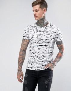Удлиненная обтягивающая футболка с принтом Noose & Monkey - Белый
