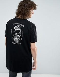 Длинная футболка с принтом черепа ASOS - Черный