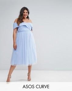 Приталенное платье миди из тюля с открытыми плечами ASOS CURVE WEDDING - Синий