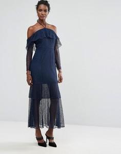 Платье макси с рюшами Keepsake Wide Awake - Темно-синий