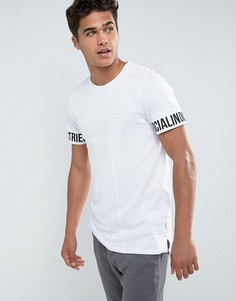Длинная футболка с принтом на рукавах Jack & Jones Core - Белый