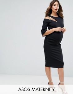 Платье-футляр с рукавами клеш и решетчатой отделкой ASOS Maternity - Черный