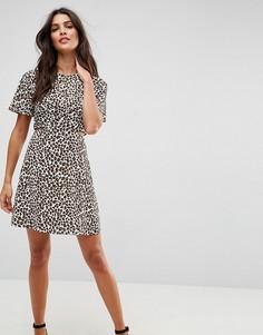 Чайное платье мини с леопардовым принтом и вырезами ASOS - Мульти