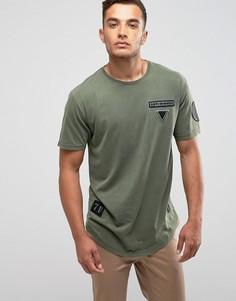 Удлиненная футболка с асимметричным краем и нашивкой Only & Sons - Черный