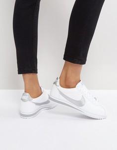 Белые кожаные классические кроссовки с серебристой отделкой Nike Cortez - Белый