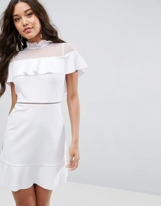 Короткое приталенное платье с сетчатой вставкой ASOS - Белый