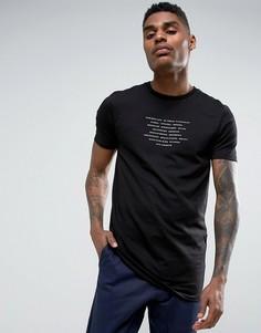 Длинная облегающая черная футболка с принтом ASOS - Черный