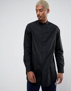Черная супердлинная рубашка классического кроя с воротником на пуговице ASOS - Черный