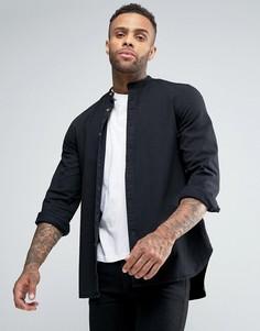 Длинная джинсовая рубашка классического кроя с воротником на пуговицах ASOS - Черный