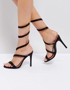Черные босоножки на каблуке со спиралевидной отделкой Public Desire Fire - Черный