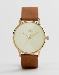 Часы со светло-коричневым ремешком из кожзаменителя и принтом ASOS - Рыжий