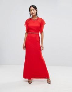 Платье макси с отделкой и рукавами клеш Elise Ryan - Красный