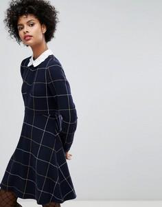Шерстяное платье в клетку с вышивкой на воротнике Sonia By Sonia Rykiel - Темно-синий