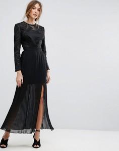 Плиссированное платье макси с вышивкой Miss Selfridge - Черный