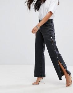 Широкие джинсы с разрезами и искусственным жемчугом на штанинах Liquor & Poker - Черный